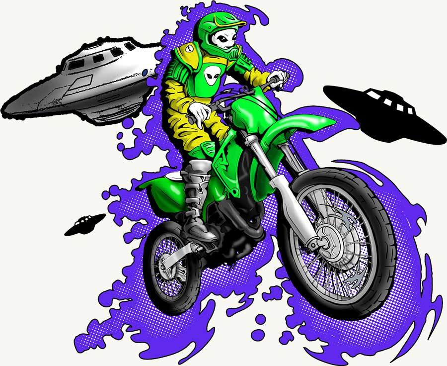 Alien Riding Dirt Bike
