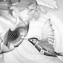 Grayscale Electric Hummingbird digital art