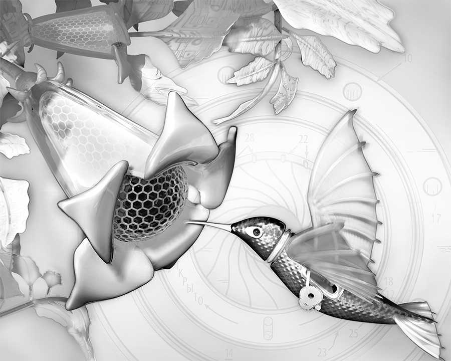 """Featured image for """"Electric Hummingbird, Grayscale"""""""