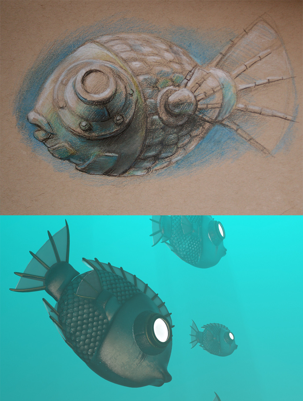 Fish Sketch and 3d Model comparison