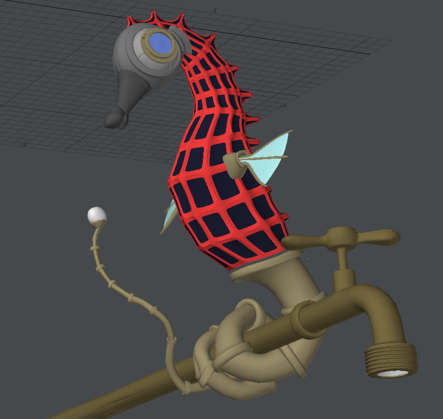 """Featured image for """"Step 1: Untextured Mechanical Seahorse"""""""